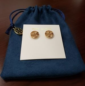 🎉💝TORY BURCH 'Triumph' round gold earrings💝🎉